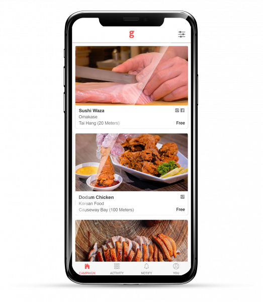 Iphone XS with GingFood app